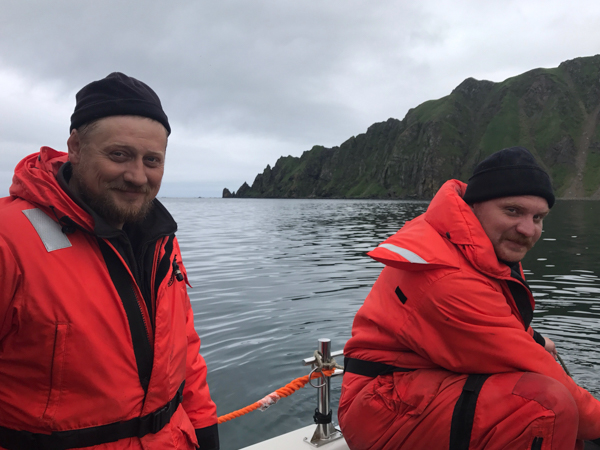 Ornithologist Dmitry Pilipenko and Inspector Vitaly Ushakov on Medny Island